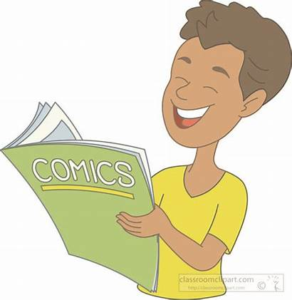 Reading Comic Clipart Boy Read Books Clip
