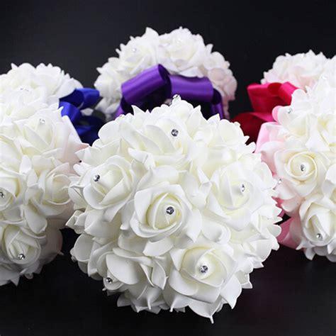1 bouquet crystal bridal wedding bouquet silk flower
