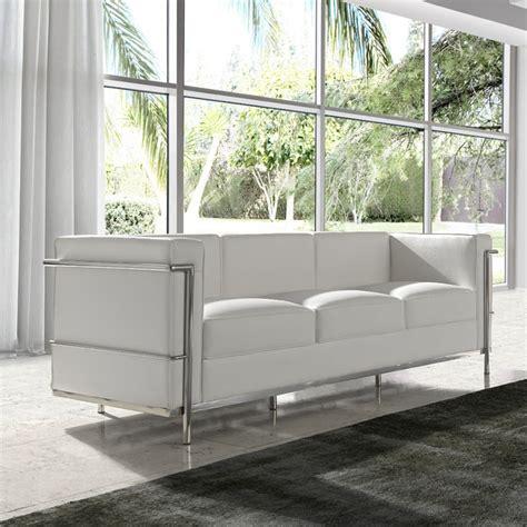 canapé 3 places cuir blanc canapé 3 places cuir blanc inox moderne design corbs