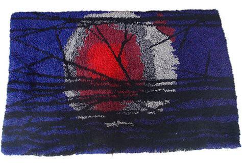 mid century modern danish rya rug  vibrant colors