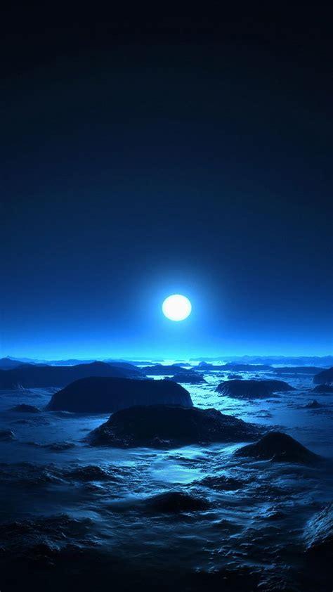 alien moon  ocean rock beach cold moonlight iphone