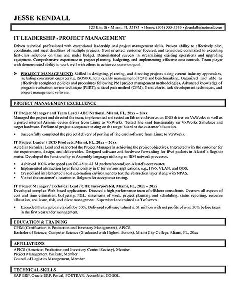 project manager resume exle