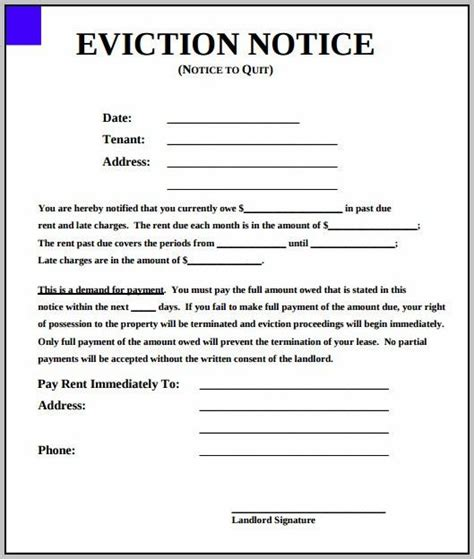 eviction notice template  york state eviction notice