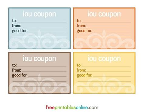 iou cards crafty coupon template  coupon template