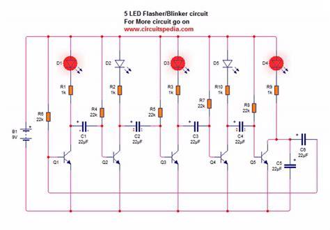 Led Blinking Chaser Flasher Running Circuit Using Transistor