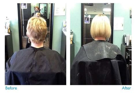 Before and After. great lengths extensions on short hair