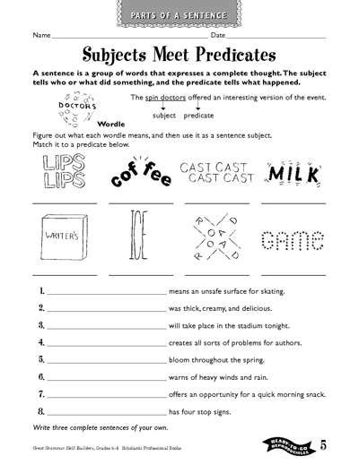 subjects meet predicates worksheets printables scholastic parents