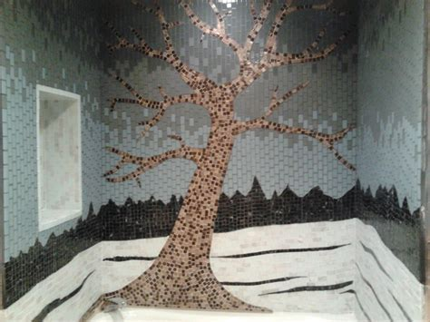 Glass tile mosaic tree shower surround   Contemporary