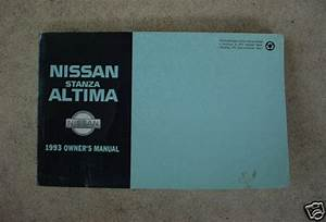 Factory Owners Manual For 93 Nissan Stanza Altima