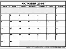 October 2016 Calendar & November 2016 Calendar