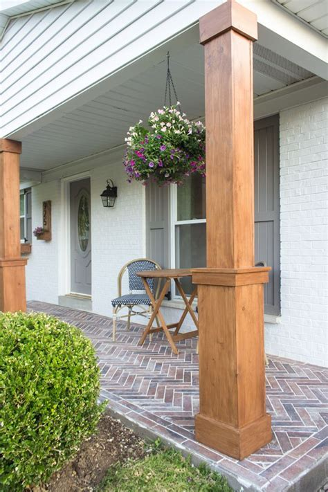 How to wrap existing porch columns in stained wood and