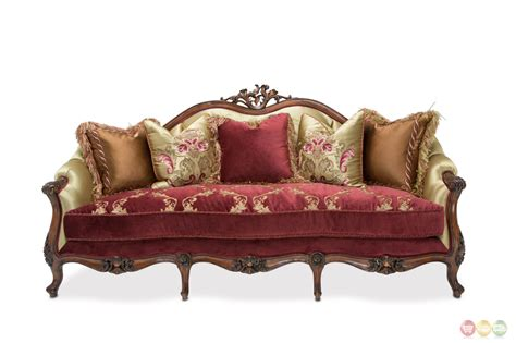 furniture settee ruby and gold embroidered sofa in