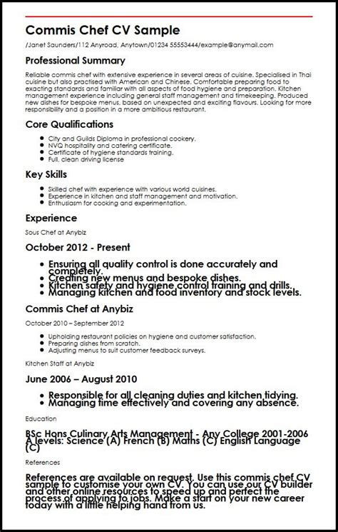 cv commis de cuisine commis chef cv sle myperfectcv