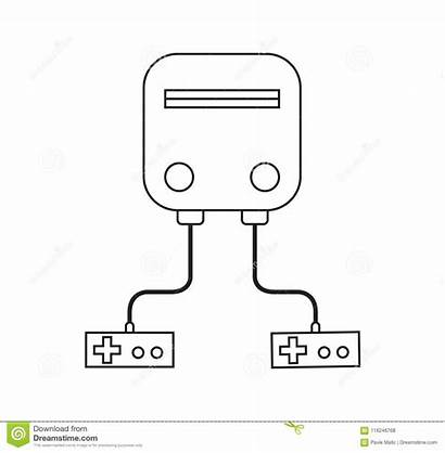 Console Outline Retro Drawing Line