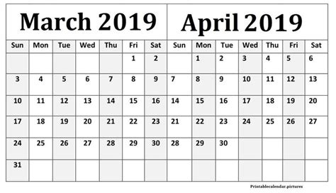 march april  calendar  calendar printables