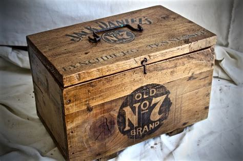 wooden box  printed jack daniels logo catawiki