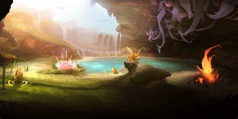 wallpaper fantasy  hd wallpaper forest frog pond