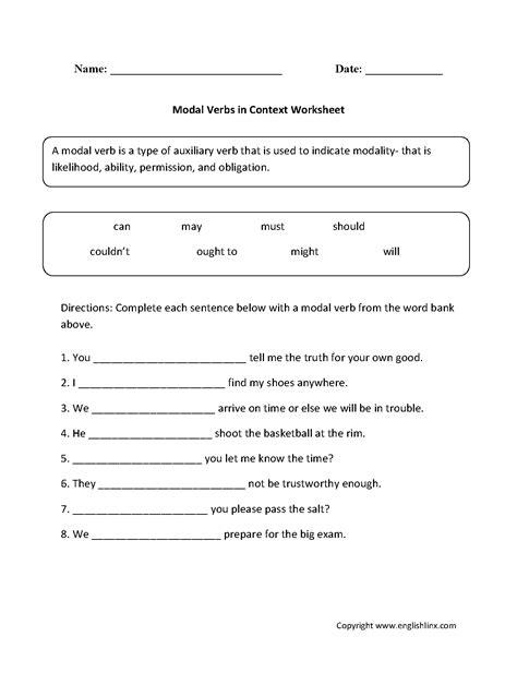 modal verbs worksheets englishlinx board verb worksheets grammar lessons teaching grammar