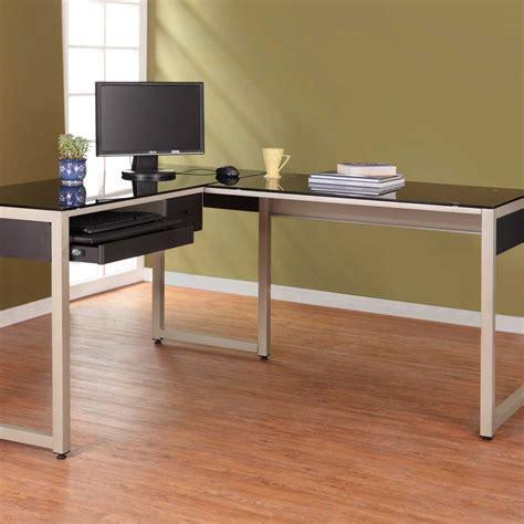 Black Computer Desk L Shaped by Black Glass Computer Desk For Home Office