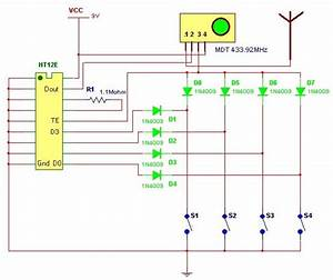 4 Channel Ask Remote With Ht12e  U0026 Ht12d Chips Circuit