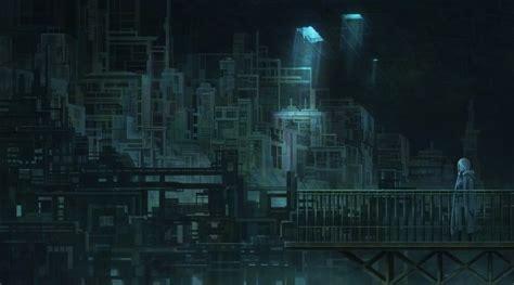wallpaper anime underground city industrial cape hoodie