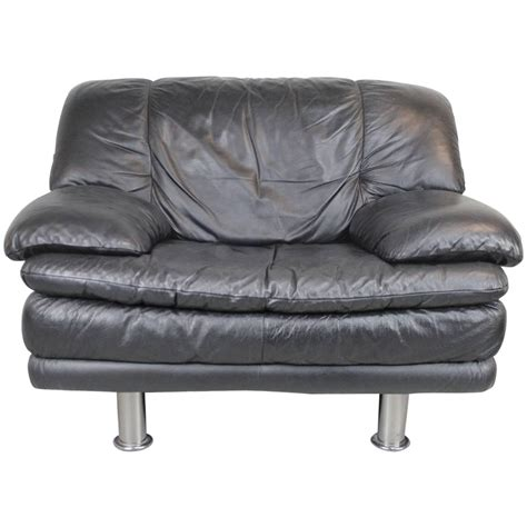 natuzzi salotti leather chair and ottoman at 1stdibs