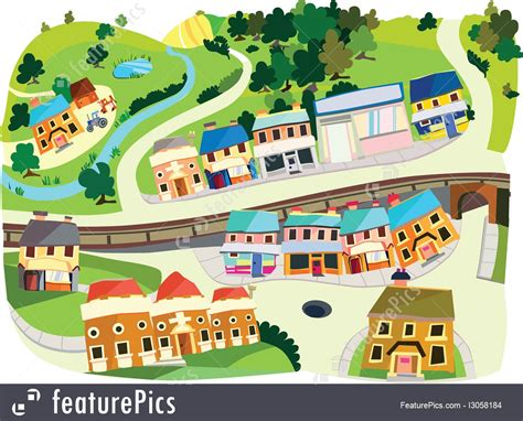 Cityscapes: Cartoon Village - Stock Illustration I3058184 ...