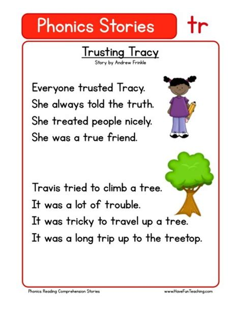 reading comprehension worksheet trusting tracy