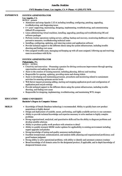 system administrator resume sles velvet