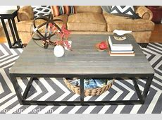 DIY Industrial Coffee Table with faux reclaimed wood and