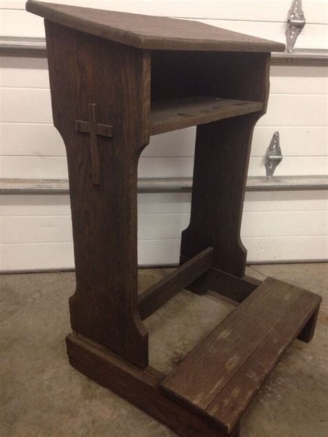 Prayer Kneeling Bench by Antique Prie Dieu Kneeler Prayer Bench With Side Cross Ebay