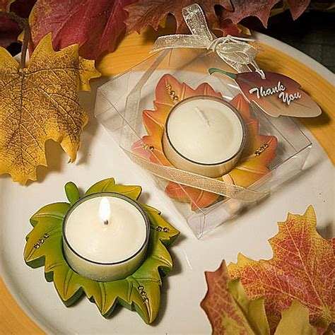 fall leaf votive tealight candle favors