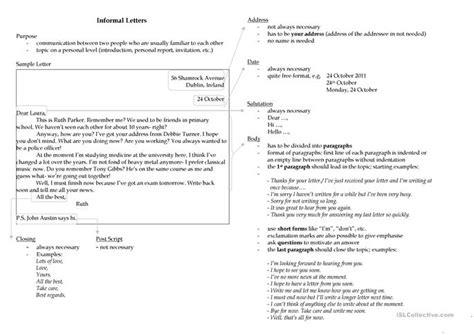 writing  informal letter worksheet  esl printable