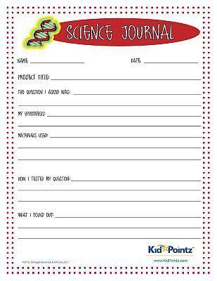 science journal worksheet  kids science experiments