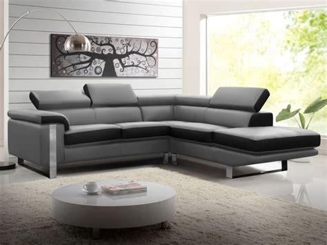 canapé noir et gris canapé d 39 angle droit en cuir noir et gris mystique