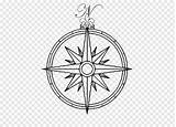 Compass Coloring Ornament Symbol Circle Line Holiday Clip sketch template