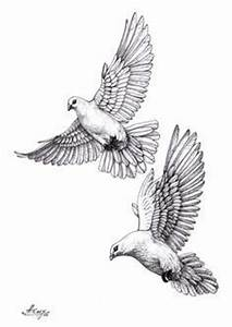 Two Flying Dove Tattoos Design
