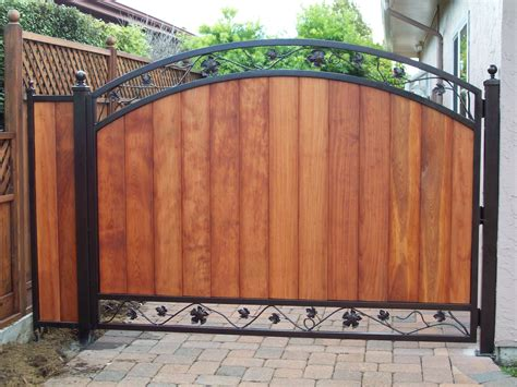 wood and metal gates fence gates wood fence with iron gate