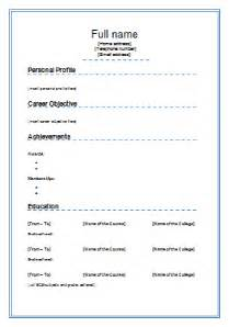 simple and easy resume formats standard cv template 2
