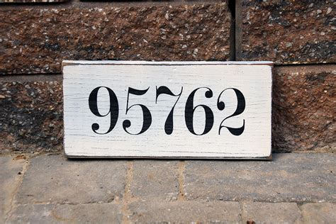 Sentimental Zipcode Painted Wood Sign | Signs by Andrea