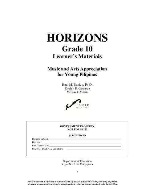 horizons grade  learners materials   arts