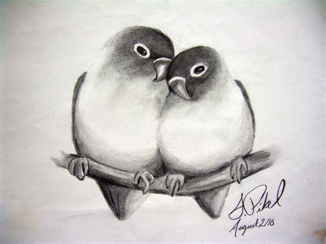 Cute Love Bird Drawings In Pencil