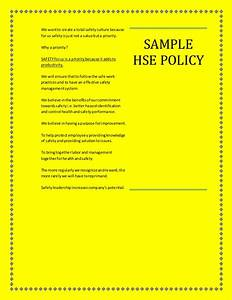 Hse Health And Safety Policy Template SAMPLE HEALTH SAFETY ENVIRONMENT POLICY
