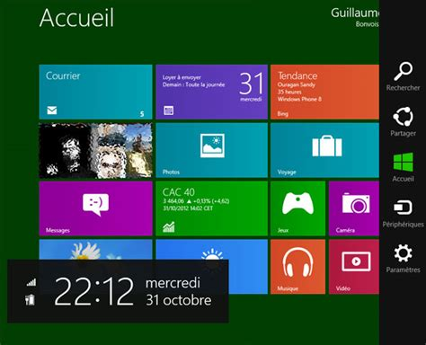 afficher bureau windows 8 comment afficher horloge sur bureau windows 8