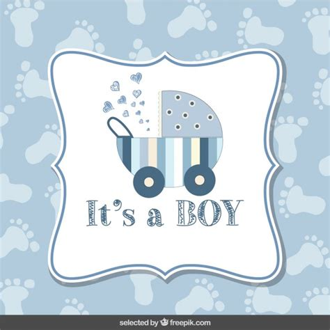 baby shower card boy  footprint background vector