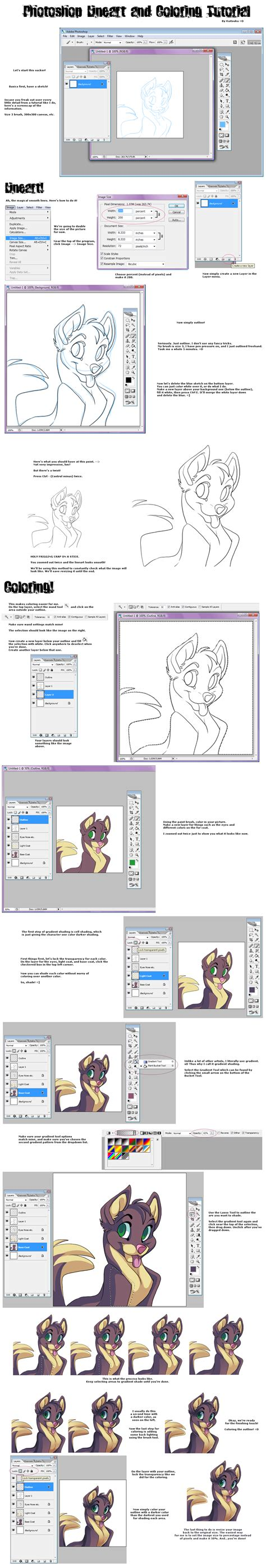 Coloring Tutorial Photoshop by Photoshop Lineart Coloring Tut By Kuitsuku On Deviantart