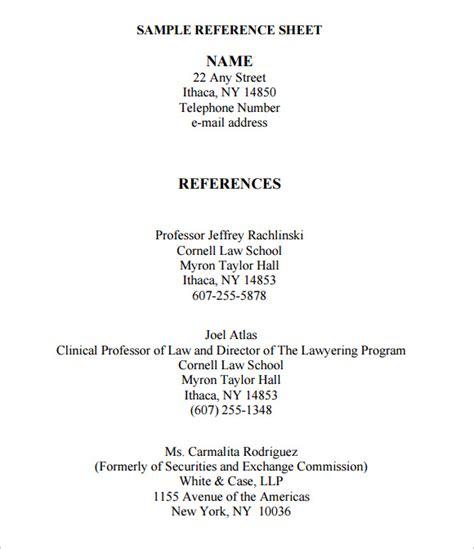sample reference sheets sample templates
