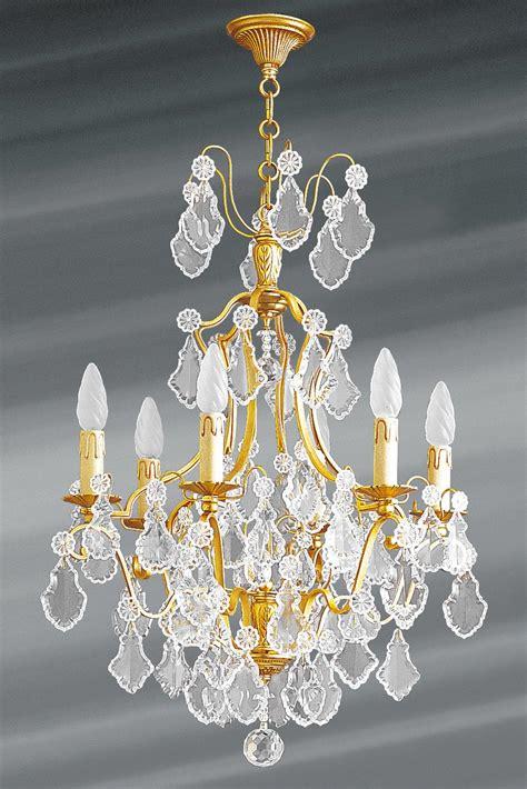 lustre en cristal de boheme lustre dor 233 cristal de boh 232 me 6 lumi 232 res louis xv lucien gau luminaires classiques de
