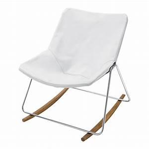 Rocking Chair Maison Du Monde : sedia a dondolo bianca in cuoio g1 maisons du monde ~ Teatrodelosmanantiales.com Idées de Décoration