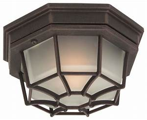 Small cast ceiling mount outdoor light in rus